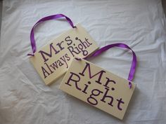 Ivory and Plum Mr and Mrs right/ always right/ chair back signs/ mr mrs signs. $22.00, via Etsy.