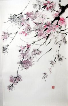 Japanese Ink Painting on Rice Paper Large18x29 by Suibokuga, €78.00