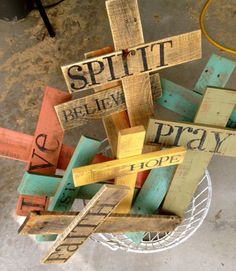 custom rustic crosses- would be an easy diy!                                                                                                                                                                                 More
