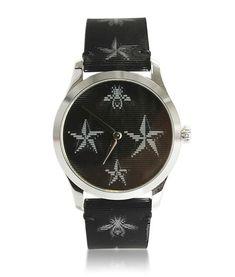 Gucci Watches - Shop designer fashion at Tradesy and save 70% off or more on fashion accessories. Gucci Watches For Men, Star G, Gucci Accessories, Gucci Black, Vintage Gucci, Luxury Fashion, Quartz, Leather, Fashion Design