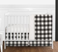 Sweet Jojo Designs Black and White Rustic Woodland Flannel Buffalo Plaid Check Baby Unisex Boy or Girl Nursery Crib Bedding Set - 4 Pieces - Country Lumberjack