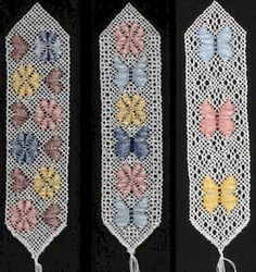 Flutterbys and Flowers Bookmark Torchon Lace Pattern