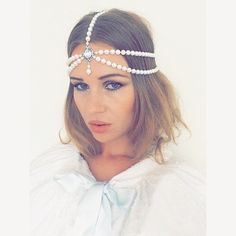 Pearl Bead Headpiece Head chain  Pearl Bead Silver by MSaHeadbands
