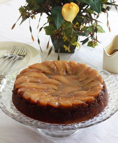 Deliciously moist and gooey Whole Wheat Pear Upside Down Gingerbread Cake with Caramel Sauce.