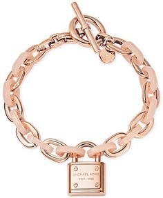 7d5905f4704dc Michael Kors Rose Gold-Tone Padlock Logo Bracelet Jewelry   Watches -  Fashion Jewelry - Macy s