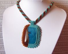 Beadwork Bead Embroidery Pendant Necklace with Blue Lace Chalcedony - A DIFFERENT WORLD - blue - brown. $90.00, via Etsy.