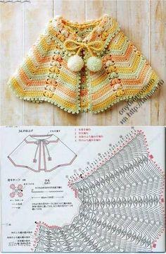 Boho Poncho Pattern By Haaktrend By Fiek - Diy Crafts - maallure Crochet Bolero, Crochet Baby Poncho, Crochet Cape, Crochet Poncho Patterns, Baby Girl Crochet, Crochet Baby Clothes, Crochet Jacket, Cute Crochet, Baby Knitting