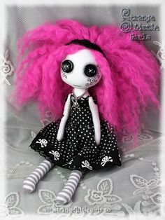Goth punk art doll with button eyes - Candy Crossbones by Strange Little Girls