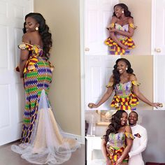 It's a blessing to be loved ✨💞👑 Congrats Jessica and Henoc Ghana Dresses, Kente Dress, Latest African Fashion Dresses, African Dresses For Women, African Print Fashion, Africa Fashion, African Wedding Attire, African Attire, Kente Styles
