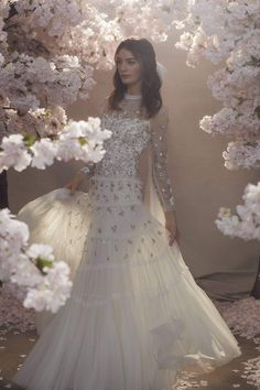 The Fallen Petals Long Sleeve Bridal Gown in Ivory is shaped for the perfect fairytale moment. Available in UK sizes 4 - 18 and US sizes 0 - 14 Beautiful Bridal Dresses, Wedding Dresses For Girls, Perfect Wedding Dress, Wedding Dress Styles, Girls Dresses, Wedding Girl, Wedding Fun, Bridal Cape, Bridal Gowns