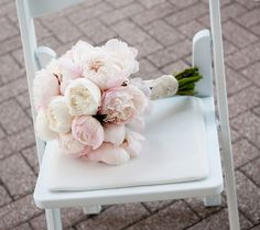 gorgeous white and pink peony bouquet