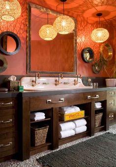 Brilliant pendants create visual magic in the rustic bathroom [Design: Studio 80 Interior Design] Orange Bathroom Decor, Orange Bathrooms, Brown Bathroom, Bathroom Colors, Small Bathroom, Bathroom Wall, Colorful Bathroom, Bathroom Ideas, Bath Decor