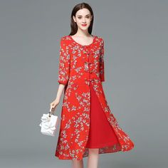 Women summer new Chiffon print red large size dress Plus Size Chinese Style Dress fat mm Loose evening party Dresses Dress Plus Size, Large Size Dresses, Cheongsam, Cheap Dresses, Summer Dresses, Party Dresses, Dresses Dresses, Floral Embroidery Dress, Traditional Dresses