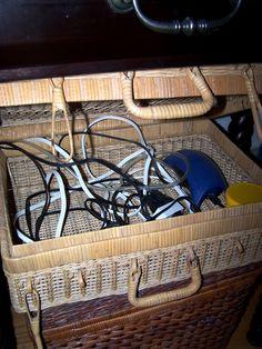 Electric cords hidden in basket