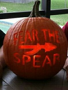 FSU pumpkin, Florida State Seminoles slogan fear the spear, Holloween 2013