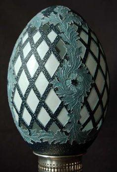 Gorgeous carved emu egg