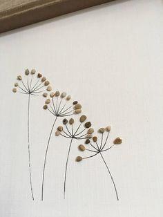 Art de galet, pissenlit fleur, photo de famille, décor rustique à la maison, cadeau unique, Pierre, OOAK, art mural, plage, cadeau de la famille, roches, pierres, cadeau