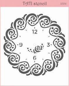 Stencils by TATI stencil Hobby & Decor - товары для рукоделия Stencil Patterns, Stencil Art, Stencil Designs, Embroidery Patterns, Clock Face Printable, Pattern Design Drawing, Clock Template, Aluminum Foil Art, Clock Craft