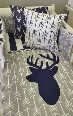 If you're spoiling your little boy with a Navy and Grey Woodland theme, our Stripes and Arrows are perfect for any Boys Nursery! Baby Bedroom, Baby Boy Rooms, Baby Boy Nurseries, Nursery Room, Baby Room Decor, Kids Rooms, Baby Boys, Nursery Bedding, Bedding Sets