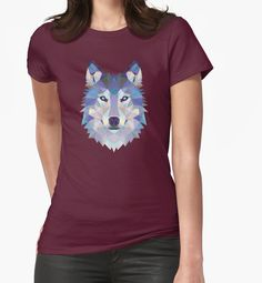 Game Of Thrones Polygonal Dire Wolf | RedBubble Womens Dark Red Fitted TShirt | All Sizes Available for Women @redbubble @RedHillStudios