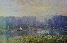 Eliseo Meifrén Roig. Estudio de grises. Óleo sobre cartón. Firmado. 29 x 45 cm. Ausa, 234.