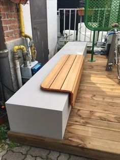 Concrete and wood goes together nicely. Even better if using Corian concrete colors Concrete Color, Corian, Outdoor Furniture, Outdoor Decor, Bench, Colors, Wood, Home Decor, Decoration Home