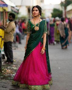 Lehenga Saree Design, Half Saree Lehenga, Lehnga Dress, Saree Look, Lehenga Designs, Saree Blouse Designs, Lehenga Gown, Indian Fashion Dresses, Indian Gowns Dresses