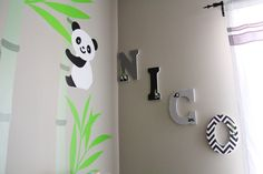 Pandas and Wooden Letters for #babynursery