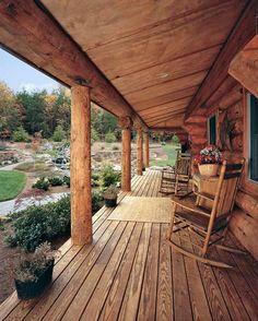 log cabin porch - great yard