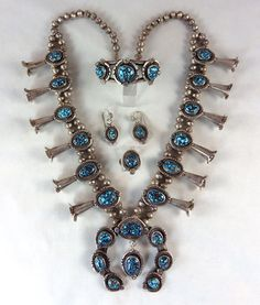 Lander Blue Turquoise Silver Squash Blossom Necklace Set created by Jake Harnegarn, Navajo