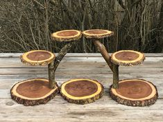 Large Log Elm Wood Rustic Cake 70 Cupcakes Pie Stand Wedding party shower wooden 6 tiered, Lumberjack Party, boho, wild things are party - Obst Ideen Cupcake Stand Wedding, Cake And Cupcake Stand, Bolo Cupcake, Bridal Shower Cakes Rustic, Rustic Shower, Wood Crafts, Diy Crafts, Lumberjack Party, Rustic Cake