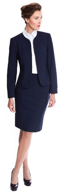 Excellent Womens 2pc Pants Suit Size 9 Navy Blue Double Breasted Tapered L