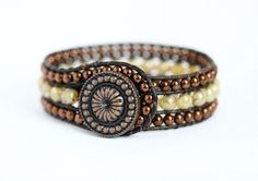 Beaded Leather Wrap Cuff, 3 Row, Champagne Beige Copper, Fall Fashion