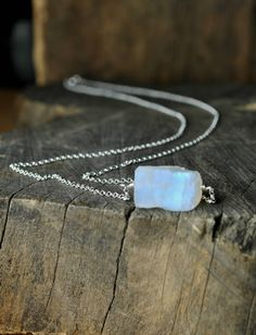Rainbow Moonstone Necklace, Raw Handmade Moonstone Jewelry, Sterling Silver Gold or Rose Gold, June Birthstone Necklace Raw Crystal Necklace by KarousosJewelry on Etsy