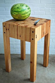 Brown and Green Butcher Block Table