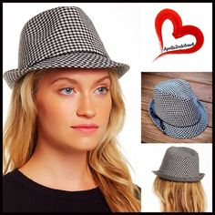 """HAT Houndstooth Fedora Wide Brim Houndstooth Fedora Front Round Brim Panama Sun Hat 💟NEW WITH TAGS💟  RETAIL PRICE: $58   * Molded subtly dented fedora crown; Approx. 1.75"""" brim.  * Contrasting ribbon trim accent w/bow detail  * Allover houndstooth print  * One size fits many, approx a 22"""" inner circumstance.    Fabric: Polyester-Viscose blend Color: White & black houndstooth Item: Floppy #B93100 🚫No Trades🚫 ✅ Offers Considered*/Bundle Discounts✅  *Please use the blue 'offer' button to…"""