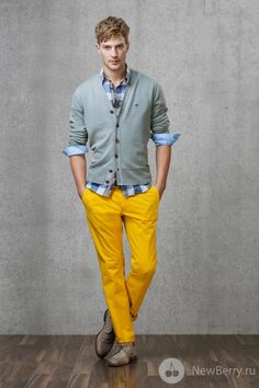 with blue jeans...daniel would freak if he wore yellow pants... :)