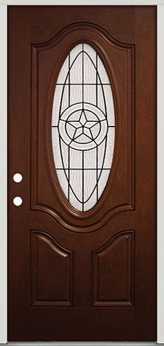 Factory Finished Fiberglass Front Door with Texas Lone Star Glass Design. On sale for only $399 with frame!