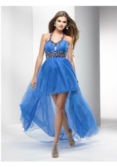 A-line Halter Tulle Blue Long Prom Dresses/Evening Dress With Beading #USAZT066