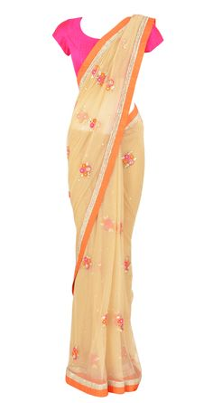 Nude soft net saree with orange raw silk border with beadwork, gota and floral embroidery detailing by Arpita Mehta. Shop at https://www.perniaspopupshop.com/whats-new/arpita-mehta-3116