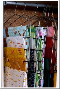 Storage Inspiration - Part One looking for fabric storage ideas. I was thinking of a bin/basket/box, but I kinda like this hanging system.looking for fabric storage ideas. I was thinking of a bin/basket/box, but I kinda like this hanging system. Sewing Room Organization, Craft Room Storage, Fabric Storage, Storage Ideas, Paper Storage, Storage Solutions, Organization Ideas, Craft Rooms, Fabric Organizer