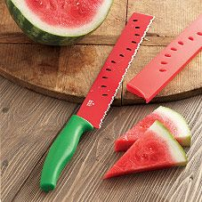 Kuhn Rikon Watermelon Knife with Bonus Melon Scoop at Sur La Table  To use with the watermelon bowl I just pinned.