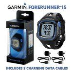 Garmin Forerunner 15 GPS Running Watch / Smart Activity Fitness Tracker - Large, Black & Blue + 2 Charging Data Connect Cables