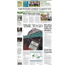 The front page of the Taunton Daily Gazette for Friday, Dec. 12, 2014.