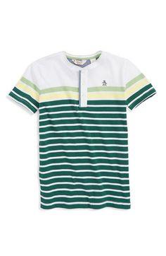Original Penguin Stripe Henley Top (Toddler Boys, Little Boys & Big Boys)…