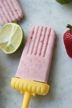Strawberry Coconut Lime Popsicles