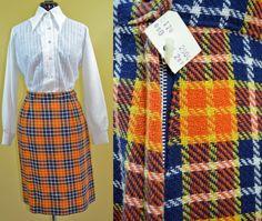 NOS 1960s Vintage Plaid Knee Length Skirt by TabbysVintageShop, $24.00