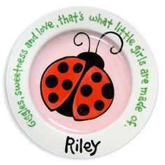 Ladybug Hand Painted Plate   Ladybug by LittleWormAndCompany, $40.00