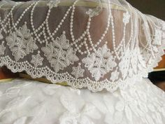off white lace fabric with scalloped trim by WeddingbySophie, $4.90