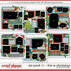 Cindy's Layered Templates - Six Pack This is Christmas by Cindy Schneider Photo Drop, Digital Scrapbooking, Scrapbooking Ideas, Scrapbook Templates, Six Packs, Layout Template, Christmas Themes, Create Your Own, Presents